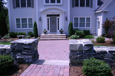 Stone Wall, Patio and Landscaping